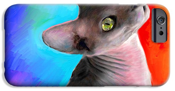 Cat Drawings iPhone Cases - Sphynx Cat painting iPhone Case by Svetlana Novikova