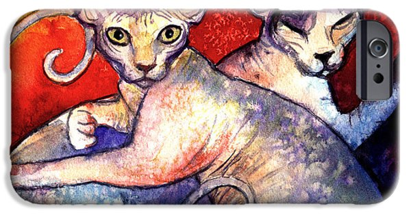 Cat Drawings iPhone Cases - Sphynx cats sphinx family painting  iPhone Case by Svetlana Novikova