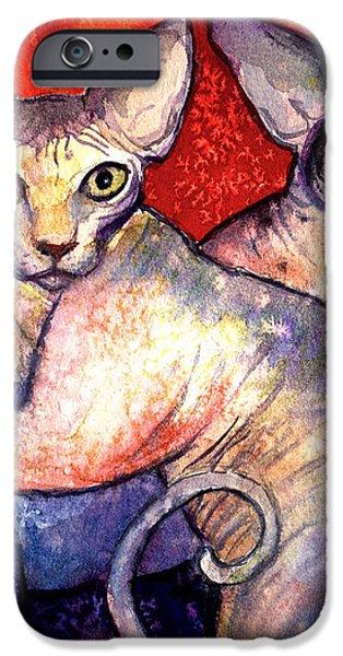 Sphynx cats sphinx family painting  iPhone Case by Svetlana Novikova
