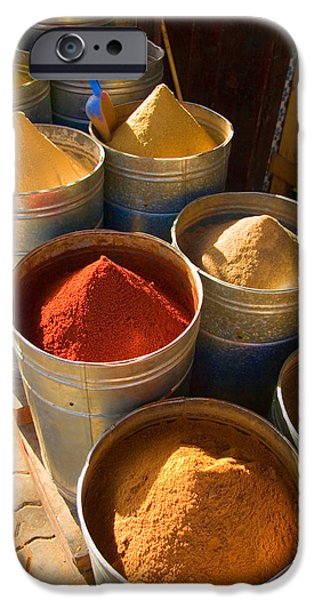 Merchants iPhone Cases - Spices in Marrakesh Morroco iPhone Case by David Smith