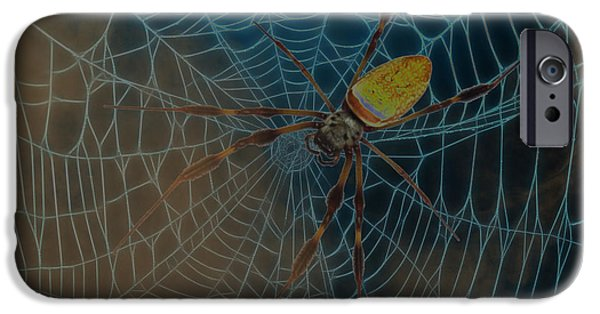 Abstract Digital Photographs iPhone Cases - Spider In The Mist iPhone Case by D Hackett