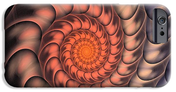 Red Abstract iPhone Cases - Spiral Shell iPhone Case by Anastasiya Malakhova