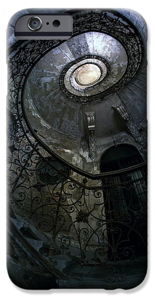 White House iPhone Cases - Spiral Staircase in blue and gray tones iPhone Case by Jaroslaw Blaminsky