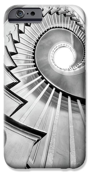 Staircase iPhone Cases - Spiral Staircase Lowndes Grove  iPhone Case by Dustin K Ryan