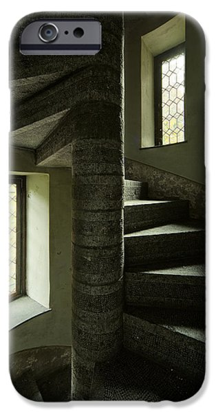 Creepy iPhone Cases - Spiral Stairs Double Window Light - Abandoned Castle iPhone Case by Dirk Ercken