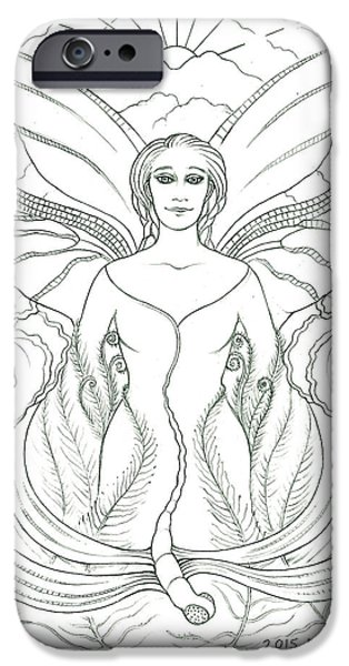 Jesus Drawings iPhone Cases - Spirit Guide Deidre iPhone Case by Debra A Hitchcock