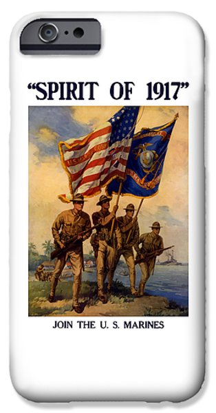Ww1 iPhone Cases - Spirit Of 1917 - Join The US Marines  iPhone Case by War Is Hell Store