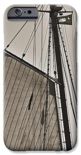 Historic Schooner iPhone Cases - Spirit of South Carolina Schooner Sailboat Sail iPhone Case by Dustin K Ryan