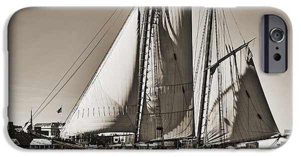 Sailing iPhone Cases - Spirit of South Carolina Schooner Sailboat Sepia Toned iPhone Case by Dustin K Ryan