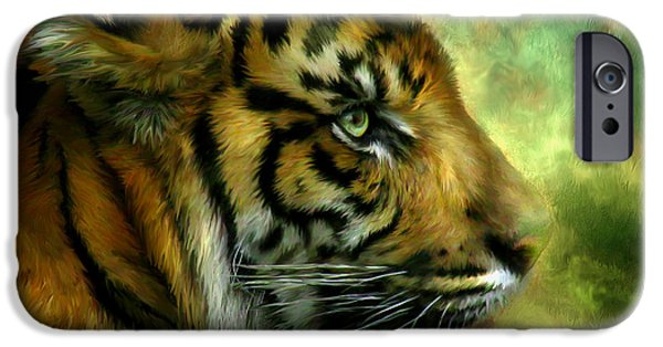 The Tiger iPhone Cases - Spirit Of the Tiger iPhone Case by Carol Cavalaris