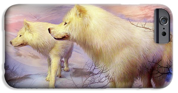 Arctic Wolf Mixed Media iPhone Cases - Spirit Of The White Wolf iPhone Case by Carol Cavalaris