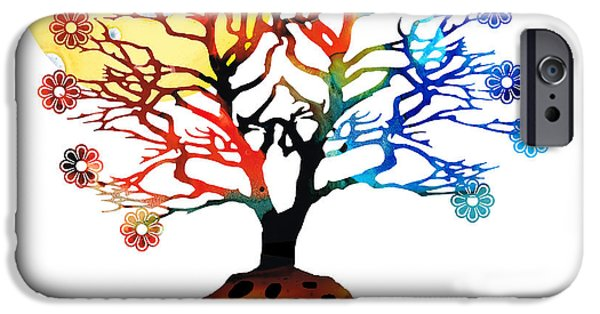 Tree Art Print Mixed Media iPhone Cases - Spiritual Art - Tree Of Life iPhone Case by Sharon Cummings