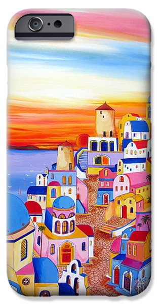 Roberto Paintings iPhone Cases - Splendid Santorini Sunset My Way iPhone Case by Roberto Gagliardi