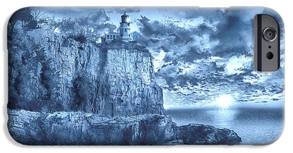 Surreal Landscape iPhone Cases - Split Rock Lighthouse Blue iPhone Case by MB Art factory