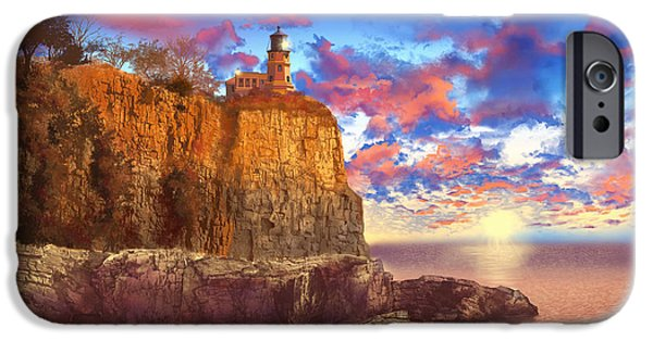 Surreal Landscape Digital iPhone Cases - Split Rock Lighthouse iPhone Case by MB Art factory
