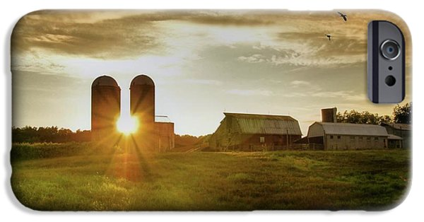 Silos iPhone Cases - Split Silo Sunset iPhone Case by Benanne Stiens