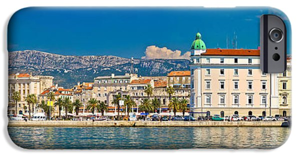 Cathedral Rock iPhone Cases - Split waterfront Riva panoramic view iPhone Case by Dalibor Brlek