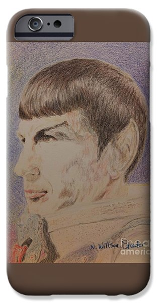 Enterprise Drawings iPhone Cases - Spock in Spacesuit iPhone Case by N Willson-Strader