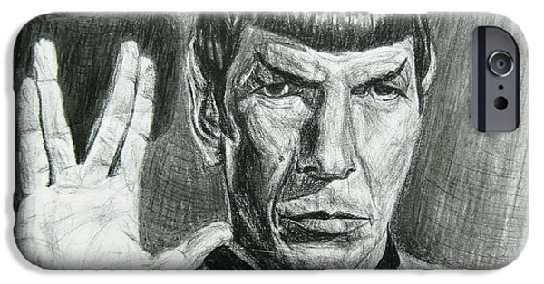 Science Fiction Drawings iPhone Cases - Spock iPhone Case by Michael Morgan