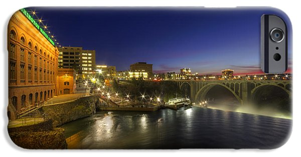 Spokane iPhone Cases - Spokane Falls at Night iPhone Case by Mark Kiver