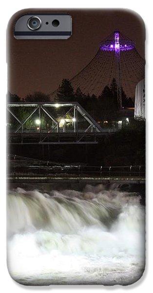 Spokane Falls Night Scene iPhone Case by Carol Groenen