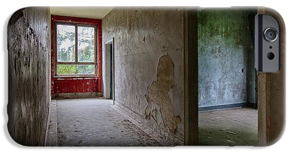 Haunted House iPhone Cases - Spooky Hallway In Old Deserted Building iPhone Case by Dirk Ercken