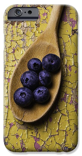 Berry iPhone Cases - Spoon Serving Blueberries iPhone Case by Garry Gay