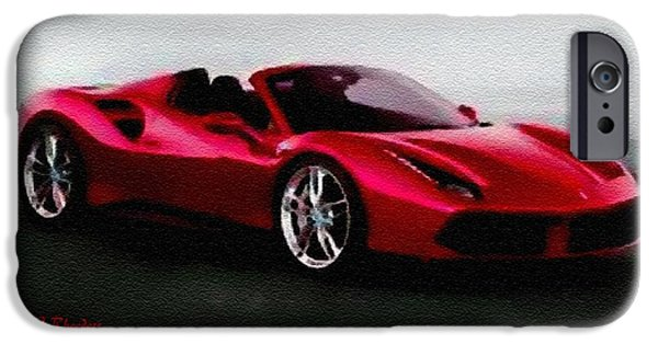 Red Wine Pastels iPhone Cases - Sports Car Dreams Catus 1 no. 1 H A iPhone Case by Gert J Rheeders