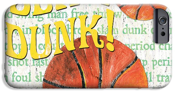 Basketball Paintings iPhone Cases - Sports Fan Basketball iPhone Case by Debbie DeWitt