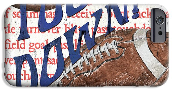 Football Paintings iPhone Cases - Sports Fan Football iPhone Case by Debbie DeWitt