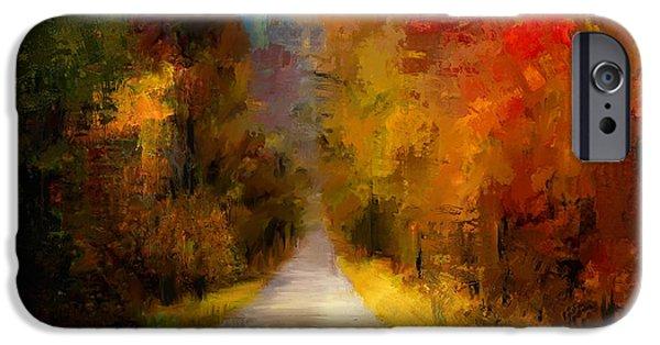 Fall Scenes Paintings iPhone Cases - Spotlight On Autumn iPhone Case by Jai Johnson