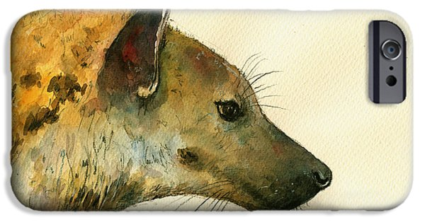 Safari Prints iPhone Cases - Spotted hyena animal art iPhone Case by Juan  Bosco