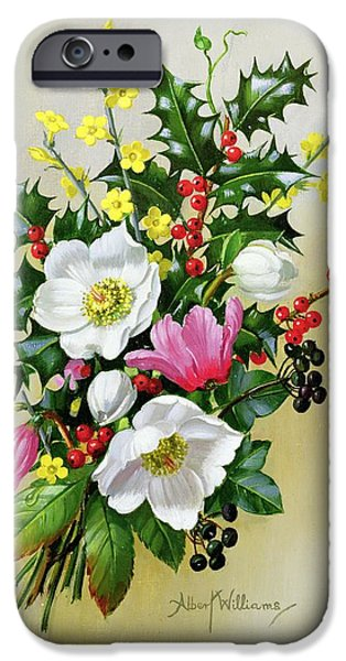 Spray Paintings iPhone Cases - Spray of Dogrose Holly Mistletoe and Larkspur iPhone Case by Albert Williams
