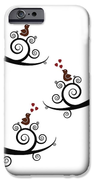 Cartoon Birds iPhone Cases - Spring Birds iPhone Case by Frank Tschakert