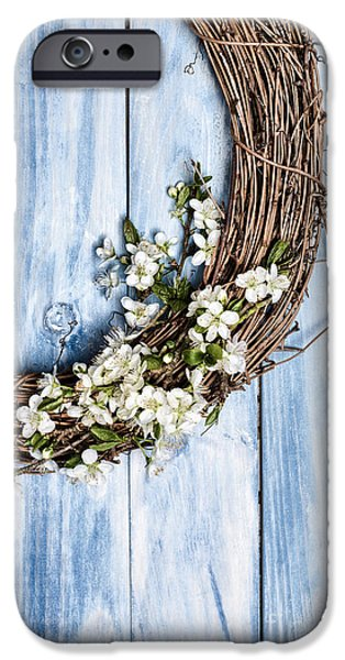 Wooden Door iPhone Cases - Spring Blossom Wreath iPhone Case by Amanda And Christopher Elwell