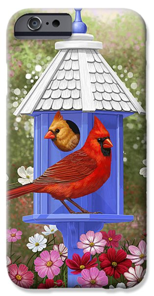 Birdhouse iPhone Cases - Spring Cardinals iPhone Case by Crista Forest