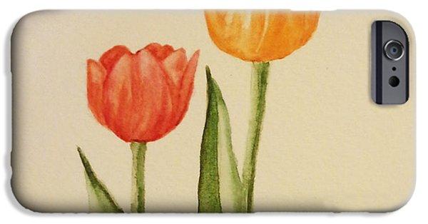 Botanic Illustration iPhone Cases - Tulips iPhone Case by Debra Smith