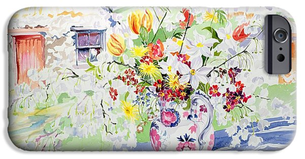 Pottery Paintings iPhone Cases - Spring Flowers on the Island iPhone Case by Elizabeth Jane Lloyd