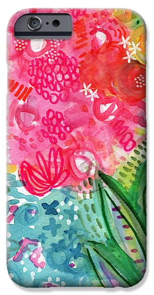 Nature Abstract iPhone Cases - Spring Garden- watercolor art iPhone Case by Linda Woods