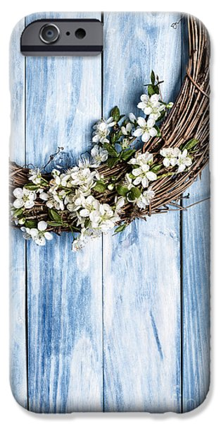 Wooden Door iPhone Cases - Spring Garland iPhone Case by Amanda And Christopher Elwell