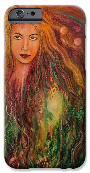 Archetype Paintings iPhone Cases - Spring Goddess iPhone Case by Solveig Katrin