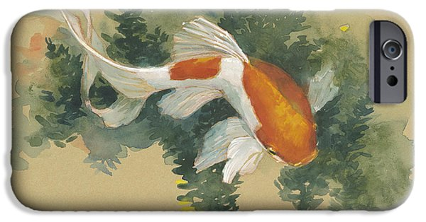 Fish Pond iPhone Cases - Spring Goldfish I iPhone Case by Tracie Thompson