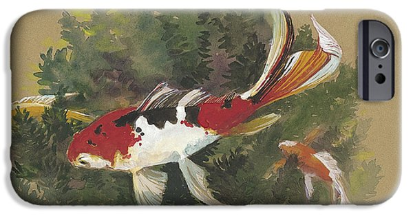 Fish Pond iPhone Cases - Spring Goldfish II iPhone Case by Tracie Thompson