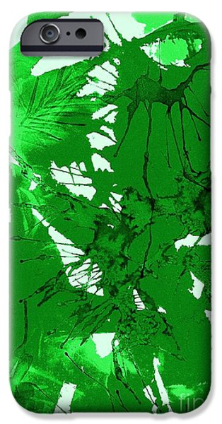 Splashy Paintings iPhone Cases - Spring Green Explosion - Abstract iPhone Case by Ellen Levinson