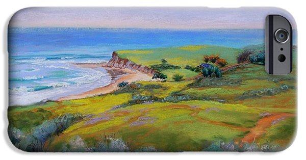 Beach Landscape Pastels iPhone Cases - Spring Greens at Bulito iPhone Case by Lynee Sapere