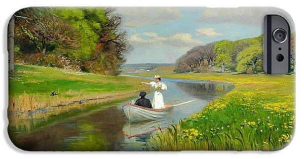 Boats In Water Paintings iPhone Cases - Spring iPhone Case by Hans Andersen Brendekilde