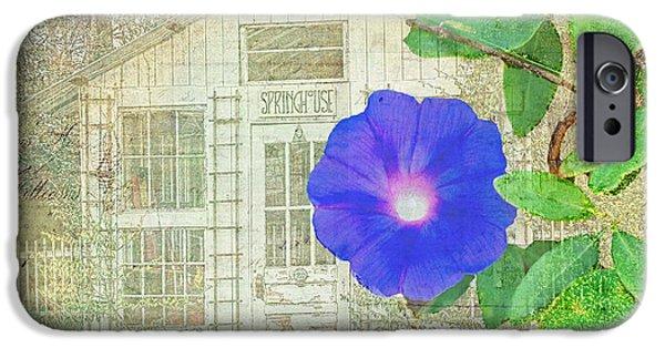 Floral Digital Art Digital Art iPhone Cases - Spring House in Bloom iPhone Case by Larry Bishop