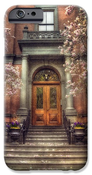Joann Vitali iPhone Cases - Spring in Boston - Boston Doorways iPhone Case by Joann Vitali