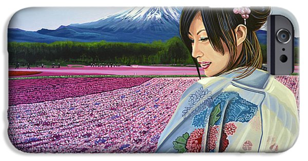 Historic Site Paintings iPhone Cases - Spring in Japan iPhone Case by Paul Meijering