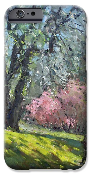 People iPhone Cases - Spring in the Park iPhone Case by Ylli Haruni